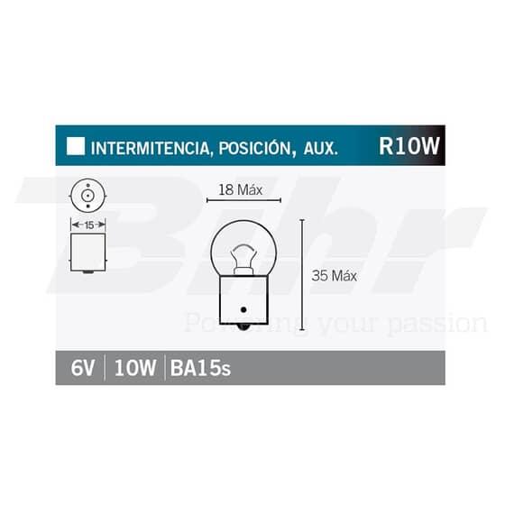 VICMA LAMPARA BILUX BA15s 6V 10W